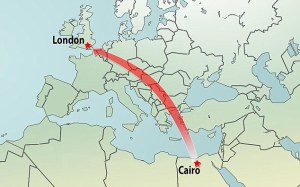 london to cairo