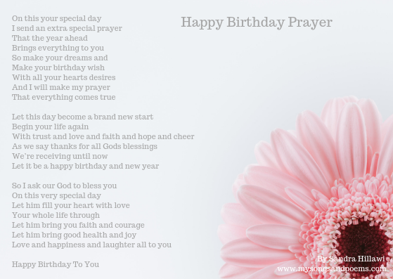 Brilliant Happy Birthday Prayer Songs And Poems By Sandra Hillawi Funny Birthday Cards Online Alyptdamsfinfo